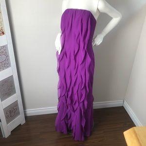 Vera Wang Purple Formal Strapless Ruffle Dress 14